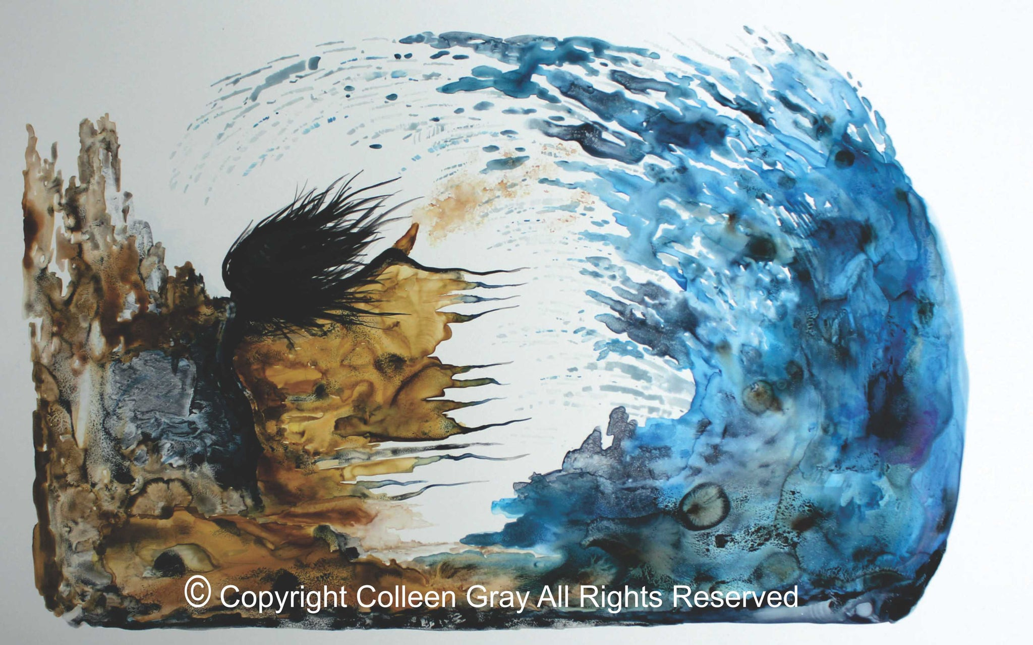 Image of Title: Woman 16x20 archival print by Metis Artist Colleen Gray Indigenous Canadian Art Work. Horizontal. Woman with long flowing hair, outstretched arms, water huge wave. For sale at https://artforaidshop.ca