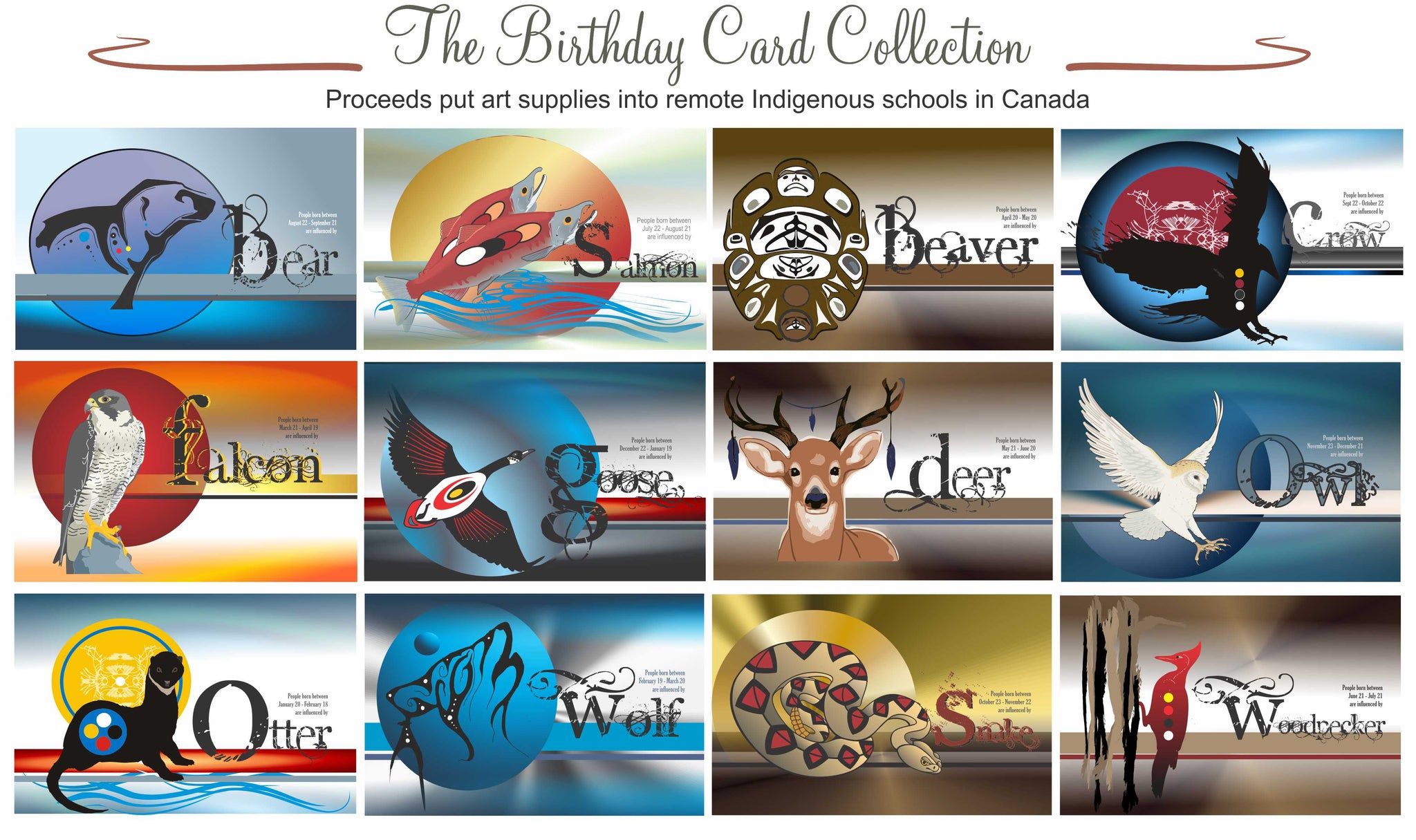 This birthday card bundle is 12 beautiful cards with the animal representative on the outside cover and the relative attributes of the animal on the inside of the card with ample room for your message. The colours are vibrant and Indigenously influenced.