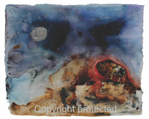 Image of Title: Red Buffalo Talks To The Fire 16x20 archival print by Metis Artist Colleen Gray Indigenous Canadian Art Work. Horizontal. For sale at https://artforaidshop.ca
