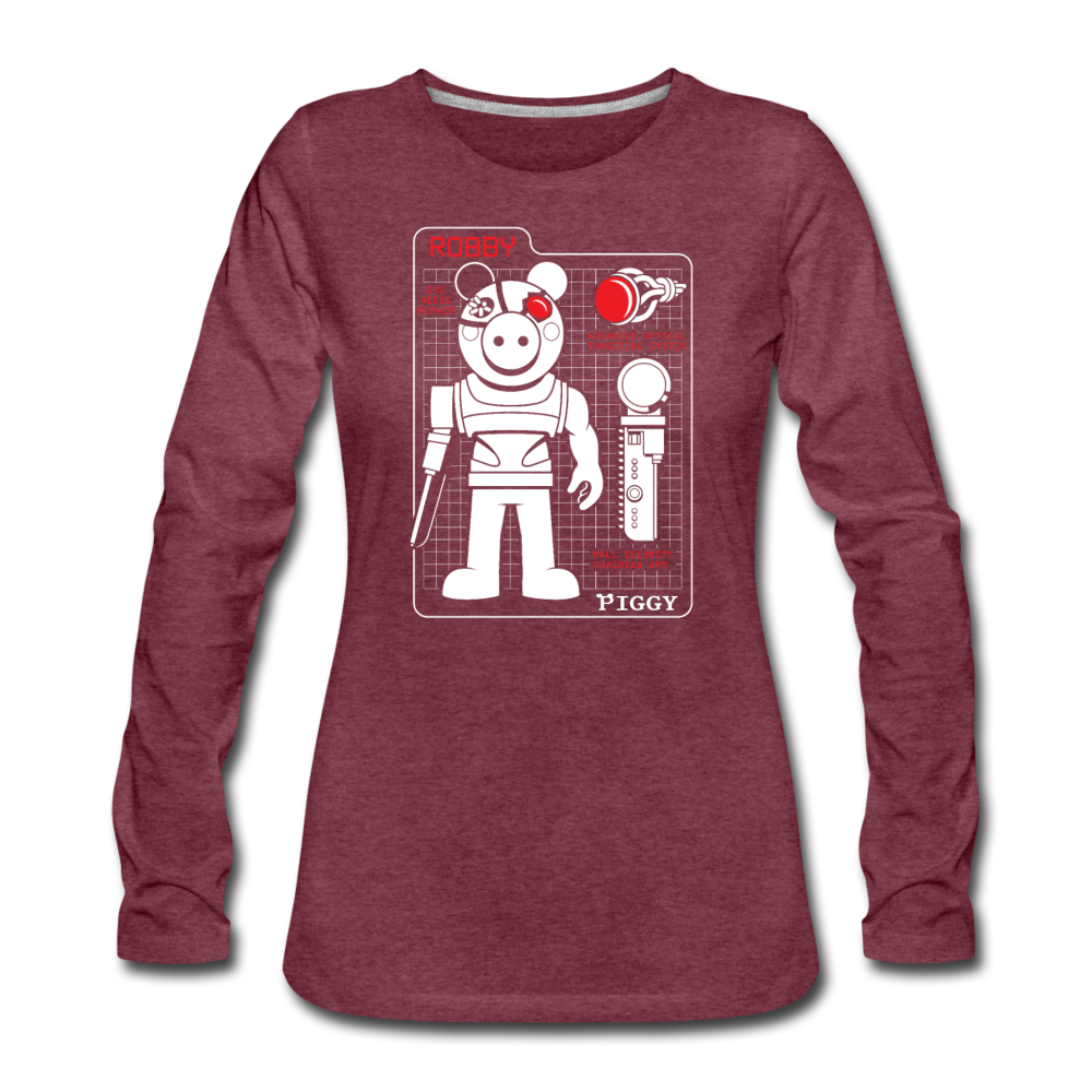 Piggy Blueprint T-Shirt (Womens) - heather burgundy