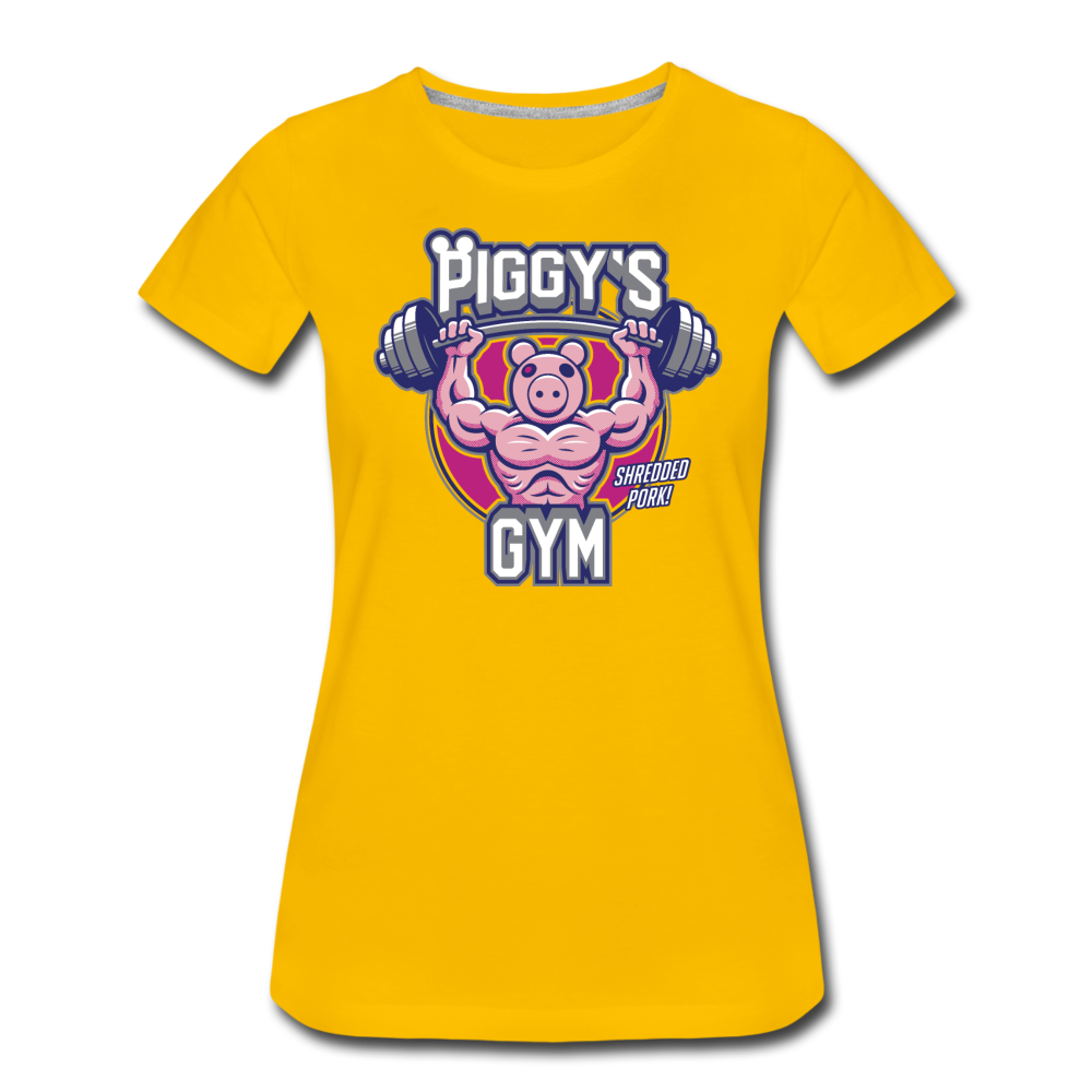 Piggy's Gym T-Shirt (Womens) - sun yellow