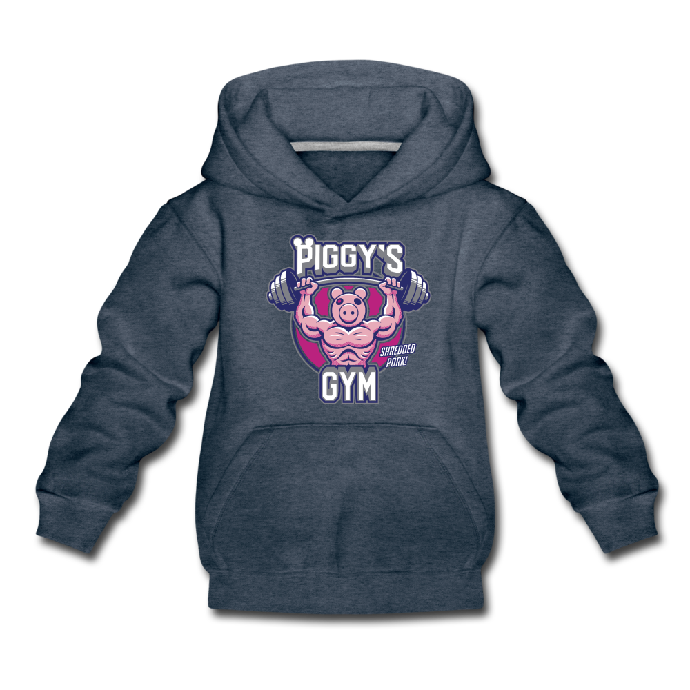 Piggy's Gym Hoodie - heather denim