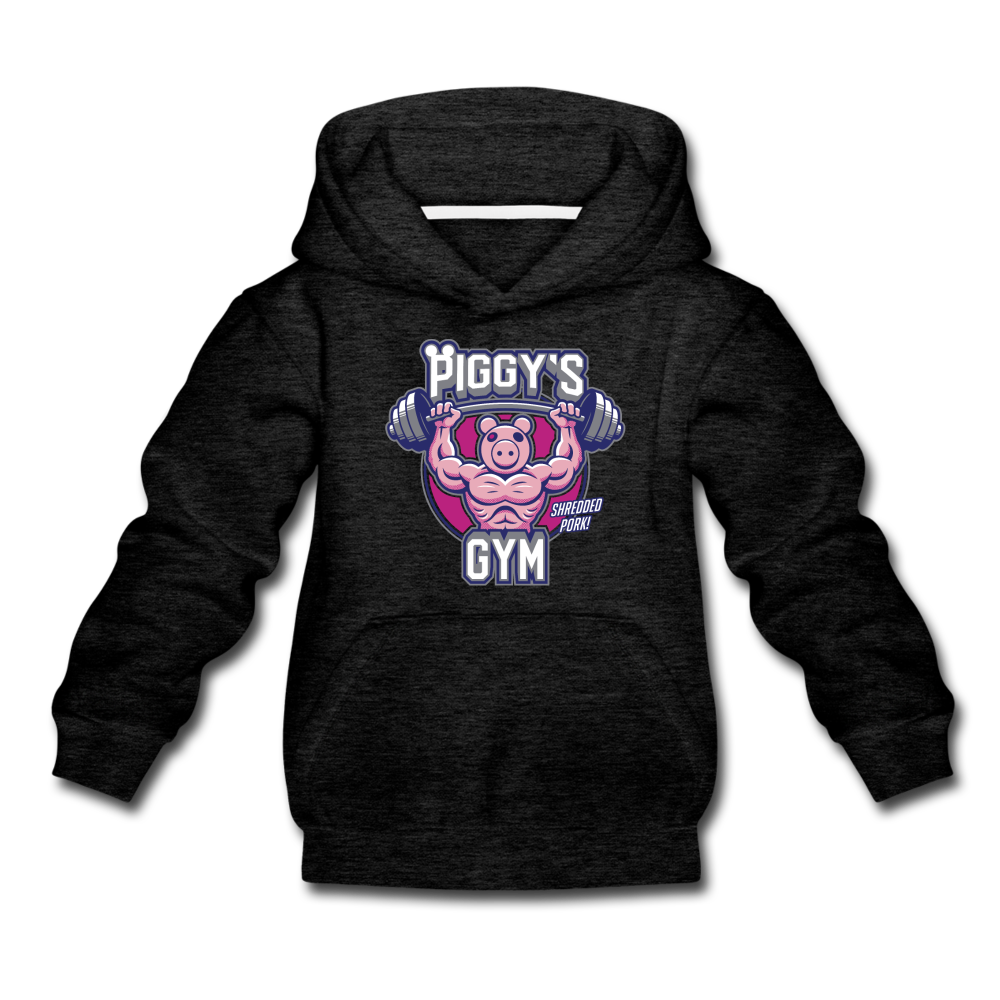 Piggy's Gym Hoodie - charcoal gray