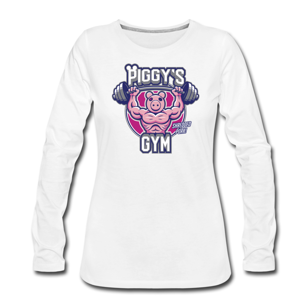 Piggy's Gym Long-Sleeve T-Shirt (Womens) - white