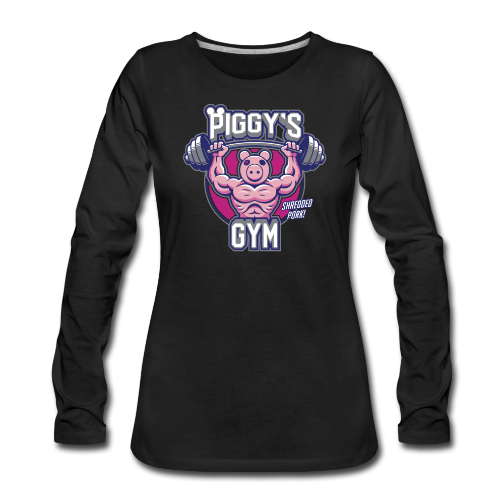 Piggy's Gym Long-Sleeve T-Shirt (Womens) - black