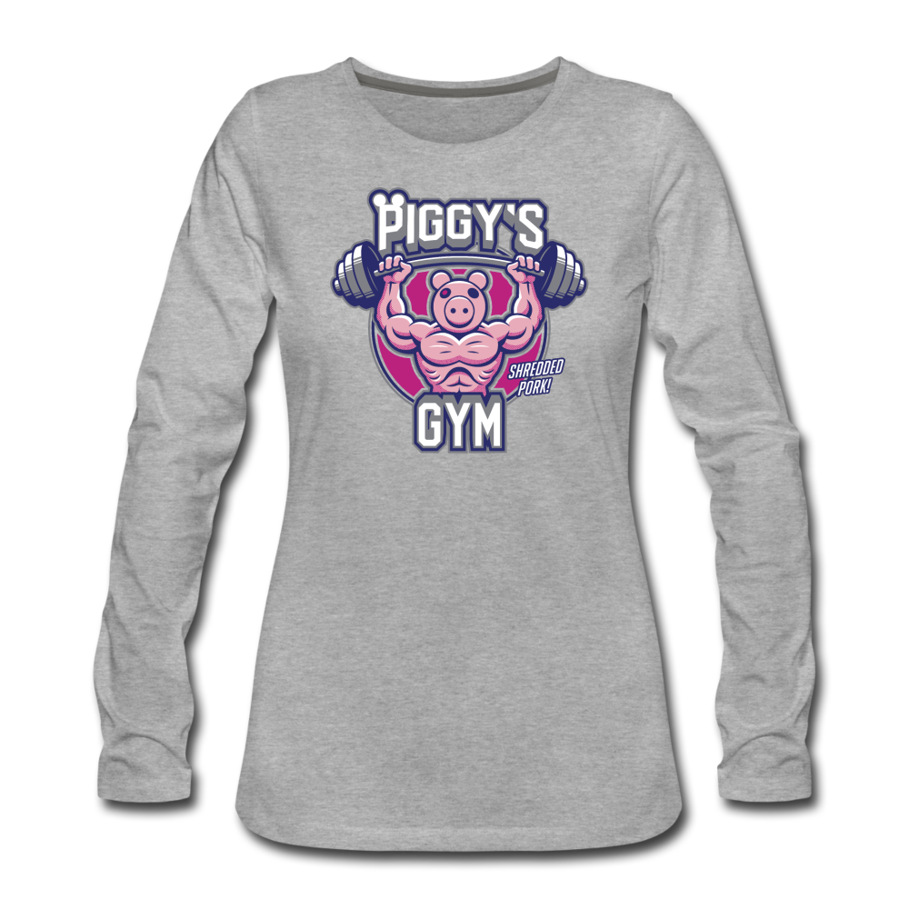 Piggy's Gym Long-Sleeve T-Shirt (Womens) - heather gray