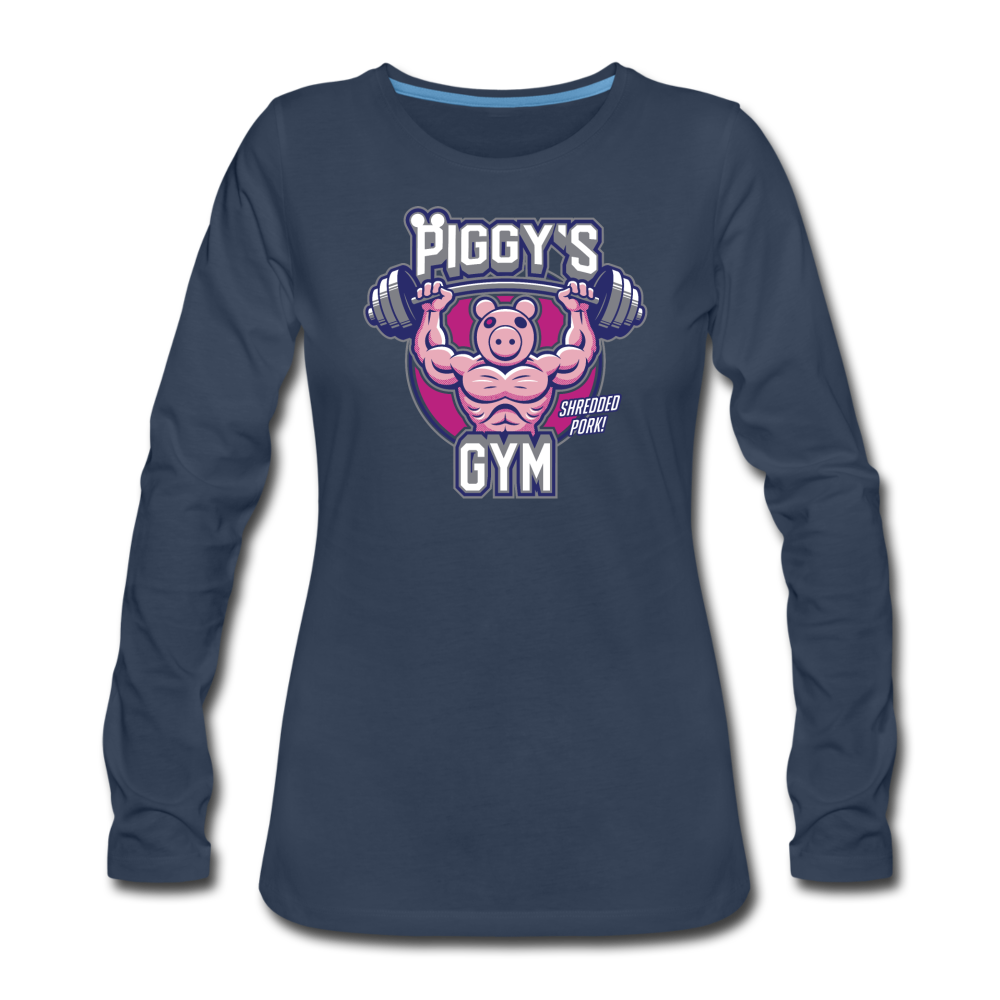 Piggy's Gym Long-Sleeve T-Shirt (Womens) - navy