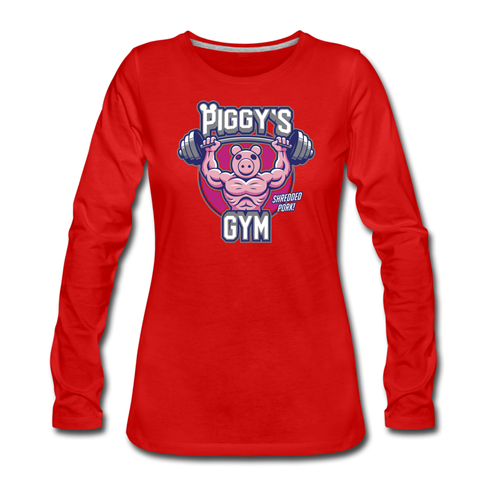 Piggy's Gym Long-Sleeve T-Shirt (Womens) - red