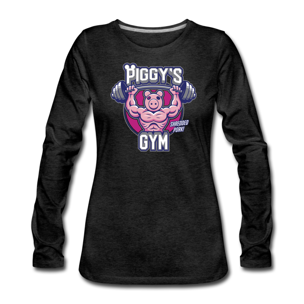 Piggy's Gym Long-Sleeve T-Shirt (Womens) - charcoal gray