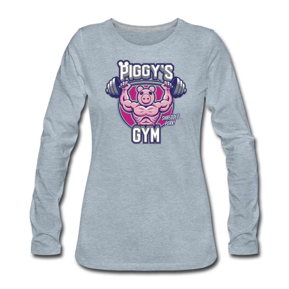 Piggy's Gym Long-Sleeve T-Shirt (Womens) - heather ice blue