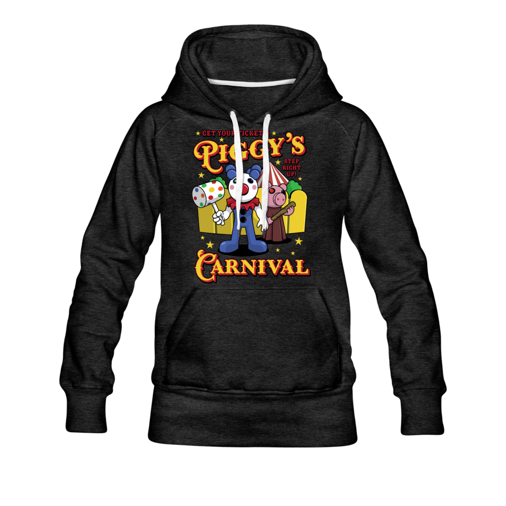 Piggy's Carnival Hoodie (Womens) - charcoal gray
