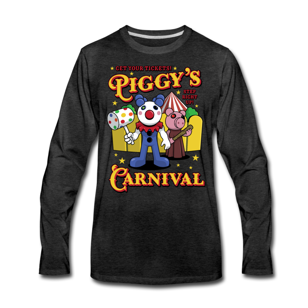 Piggy's Carnival Long Sleeve T-Shirt (Mens) - charcoal gray
