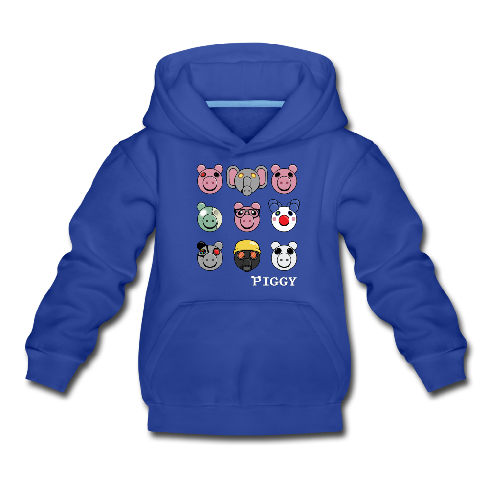 Piggy Faces Hoodie - royal blue