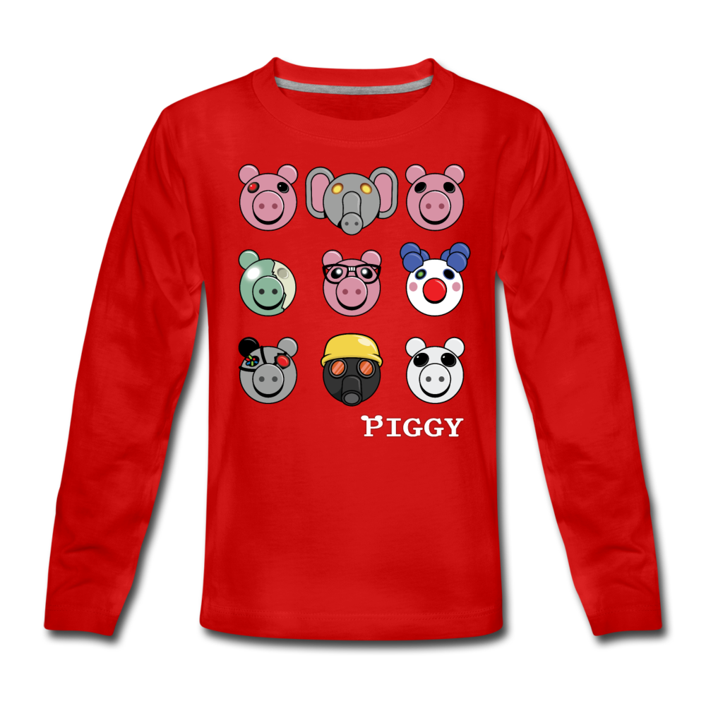 Piggy Faces Long-Sleeve T-Shirt - red