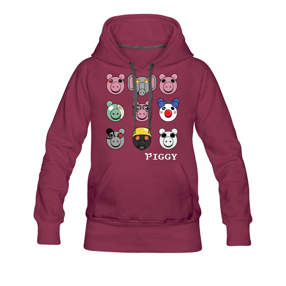 Piggy Faces Hoodie (Womens) - burgundy