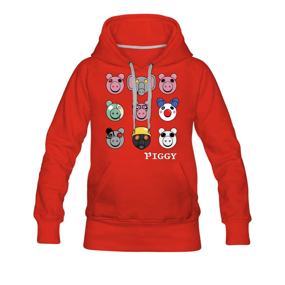 Piggy Faces Hoodie (Womens) - red
