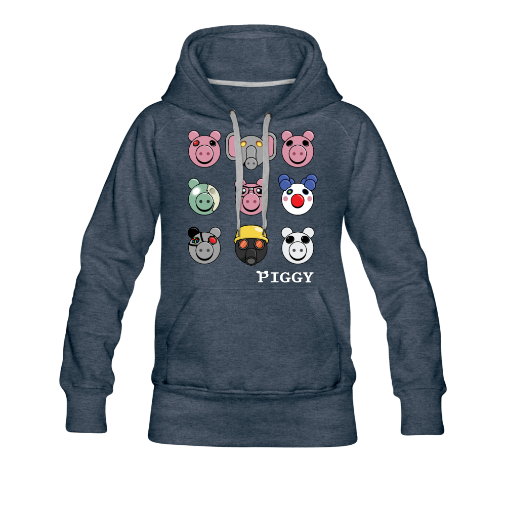 Piggy Faces Hoodie (Womens) - heather denim