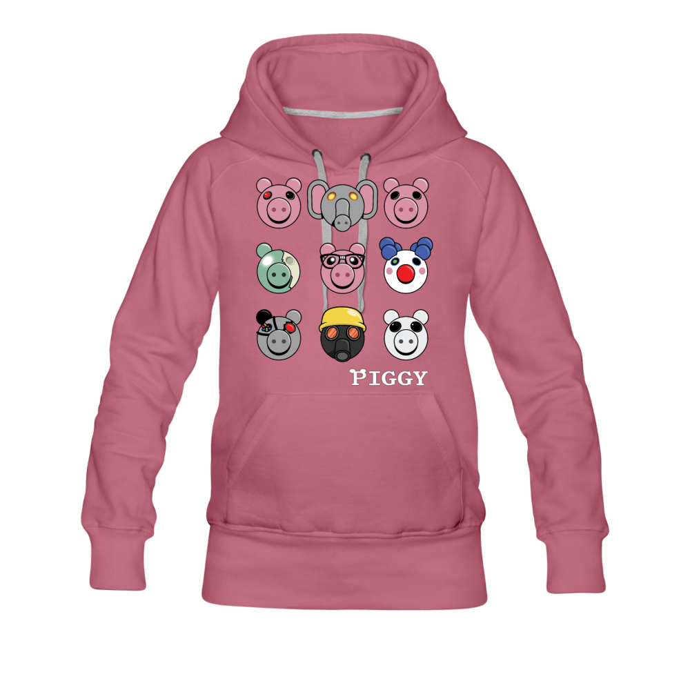 Piggy Faces Hoodie (Womens) - mauve