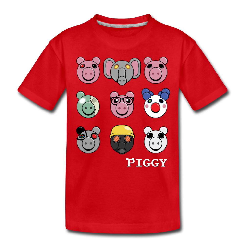 Piggy Faces T-Shirt - red