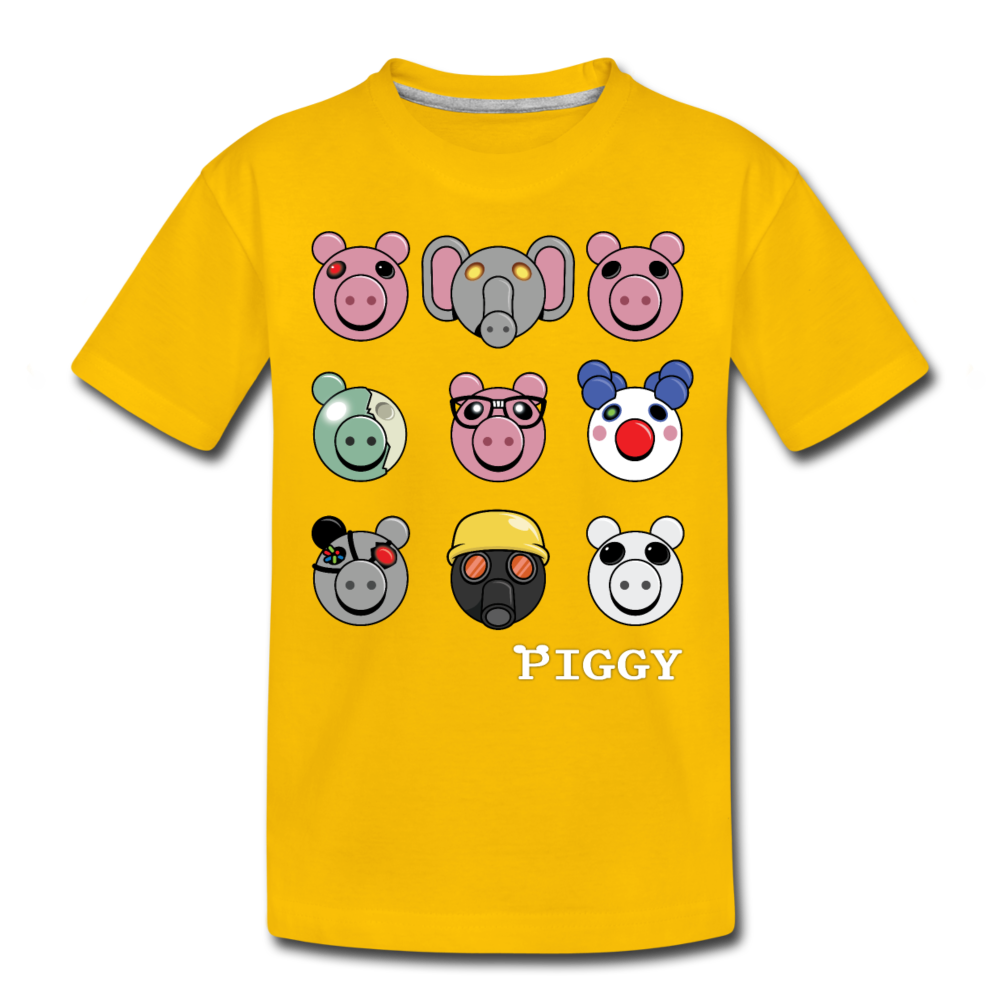 Piggy Faces T-Shirt - sun yellow