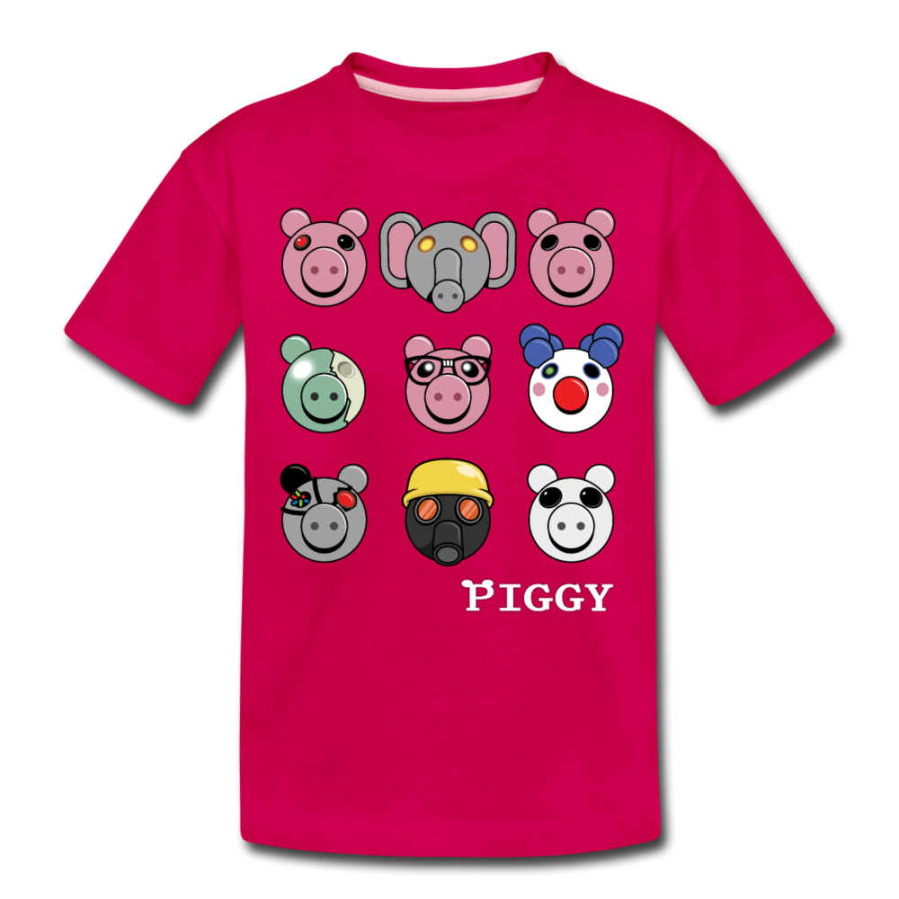 Piggy Faces T-Shirt - dark pink