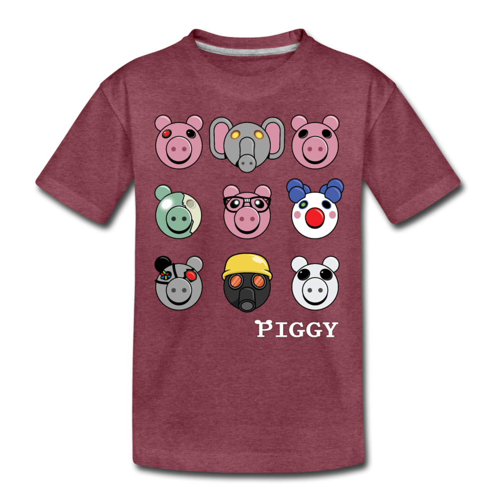 Piggy Faces T-Shirt - heather burgundy