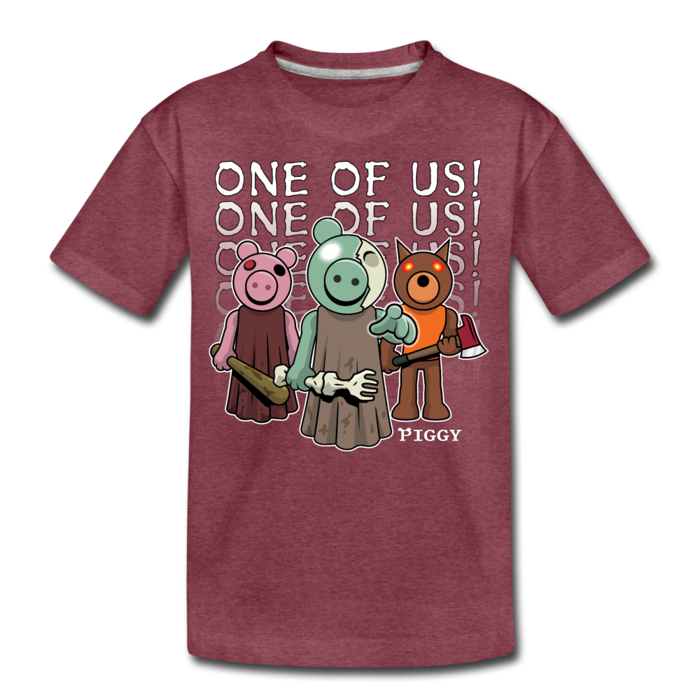 Piggy One Of Us! T-Shirt - heather burgundy