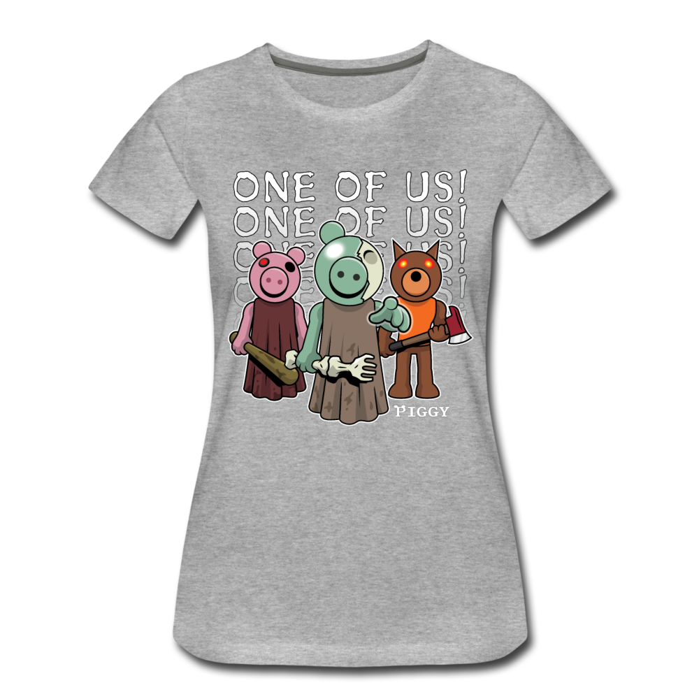 Piggy One Of Us! T-Shirt (Womens) - heather gray