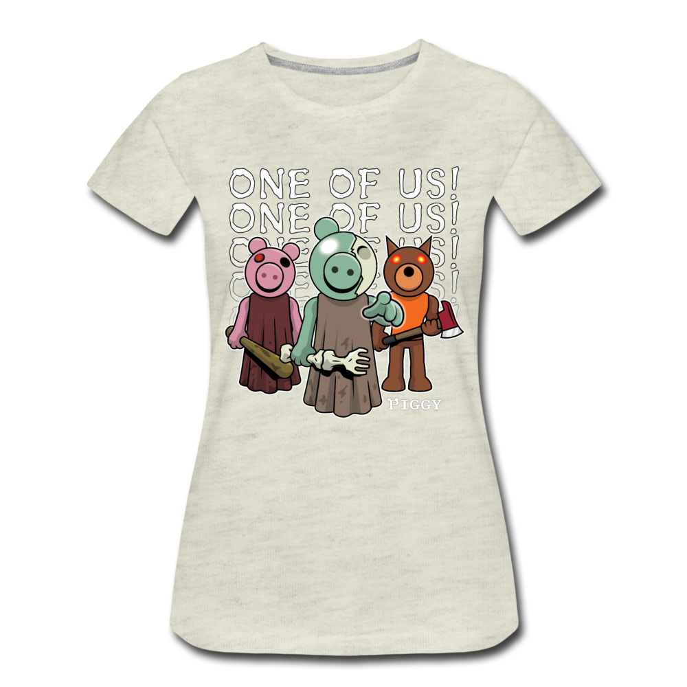 Piggy One Of Us! T-Shirt (Womens) - heather oatmeal