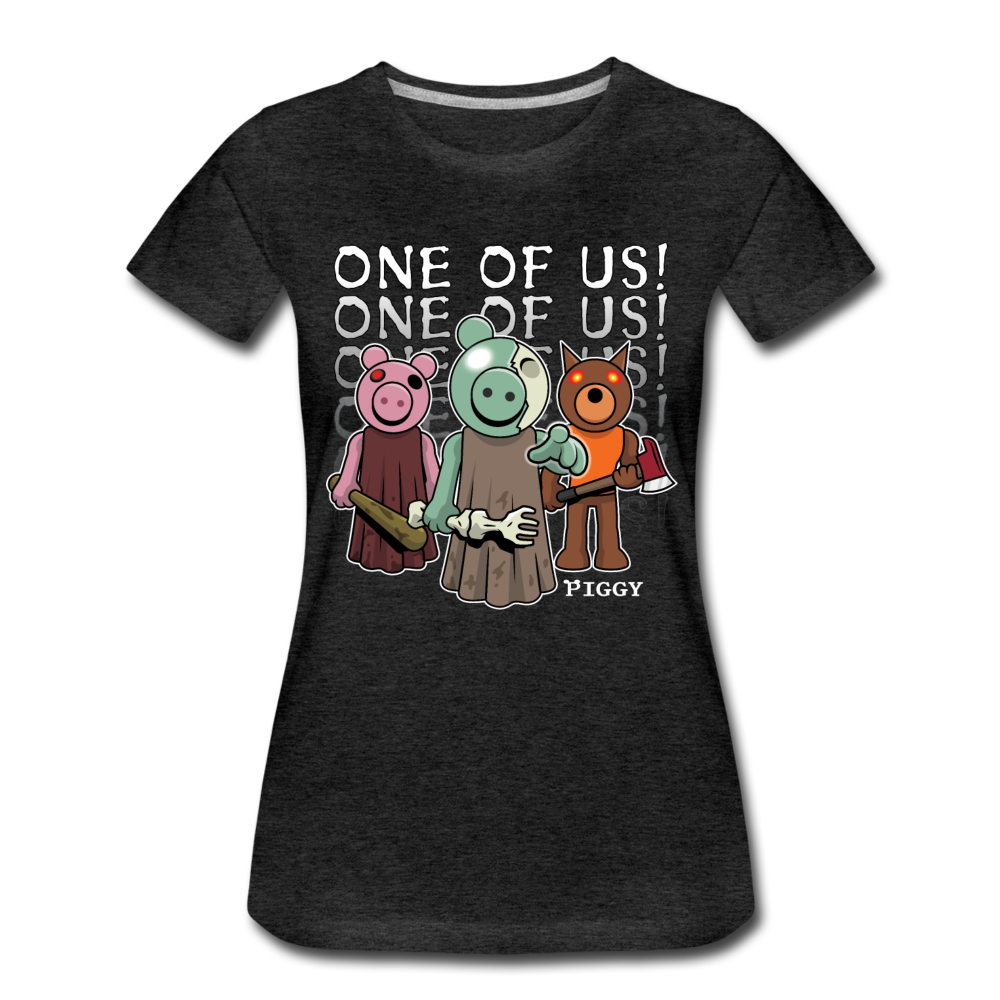 Piggy One Of Us! T-Shirt (Womens) - charcoal gray