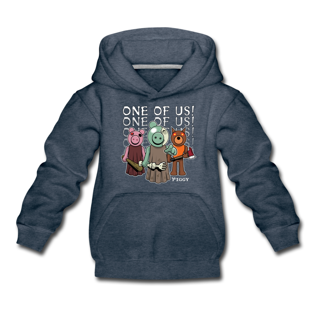 Piggy One Of Us! Hoodie - heather denim