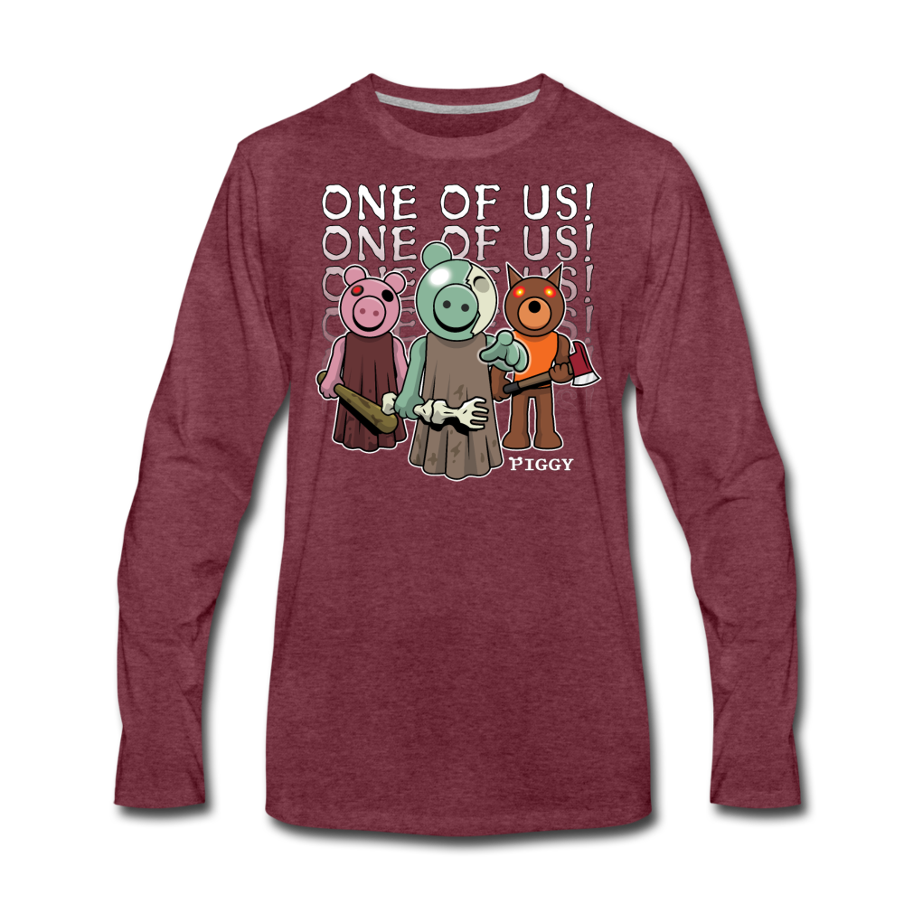 Piggy One Of Us! Long-Sleeve T-Shirt (Mens) - heather burgundy