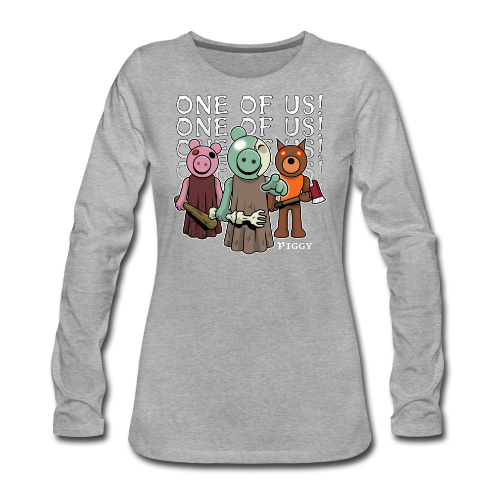 Piggy One Of Us! Long-Sleeve T-Shirt (Womens) - heather gray