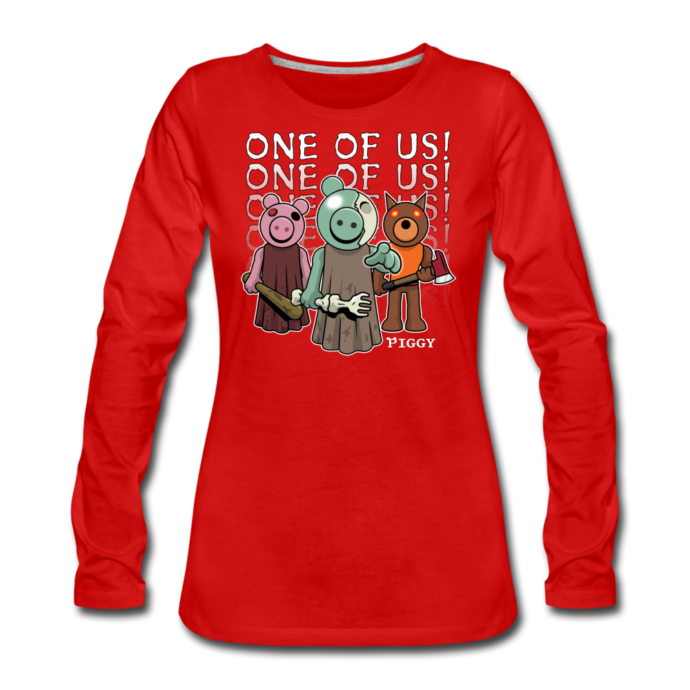 Piggy One Of Us! Long-Sleeve T-Shirt (Womens) - red