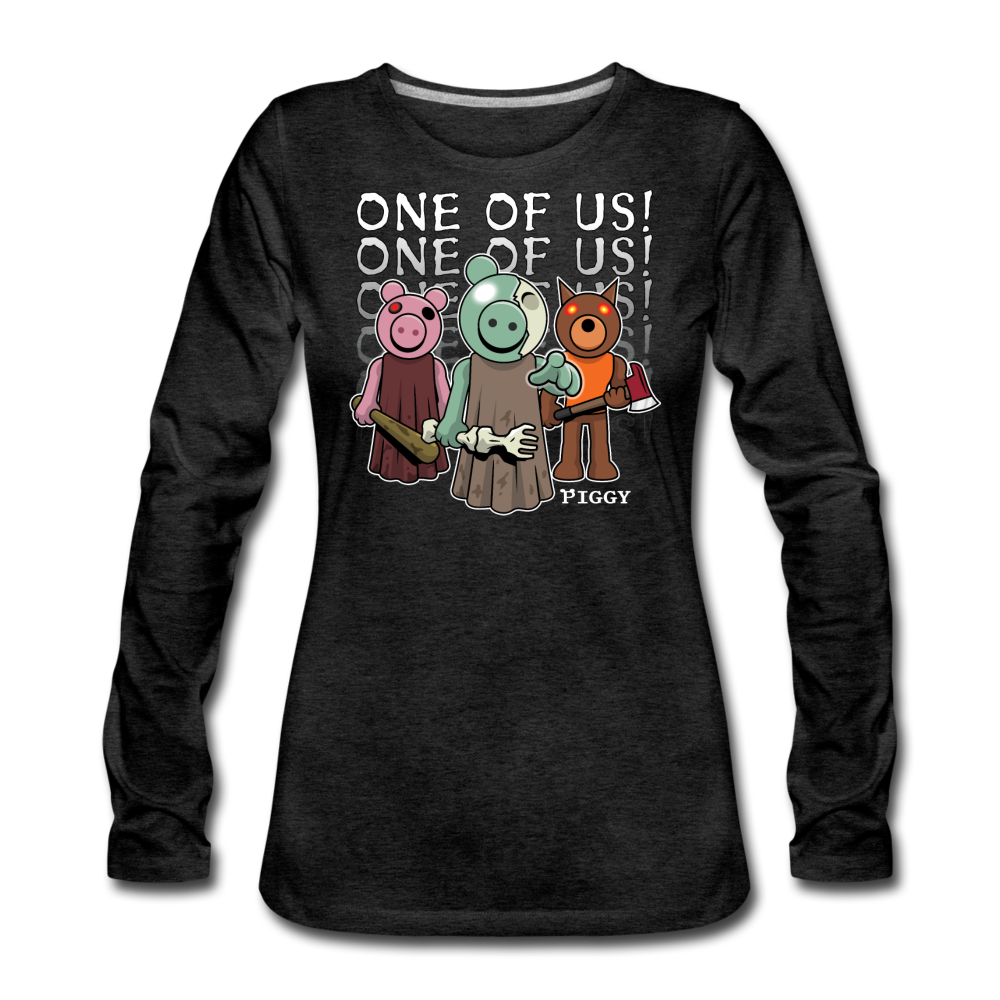 Piggy One Of Us! Long-Sleeve T-Shirt (Womens) - charcoal gray