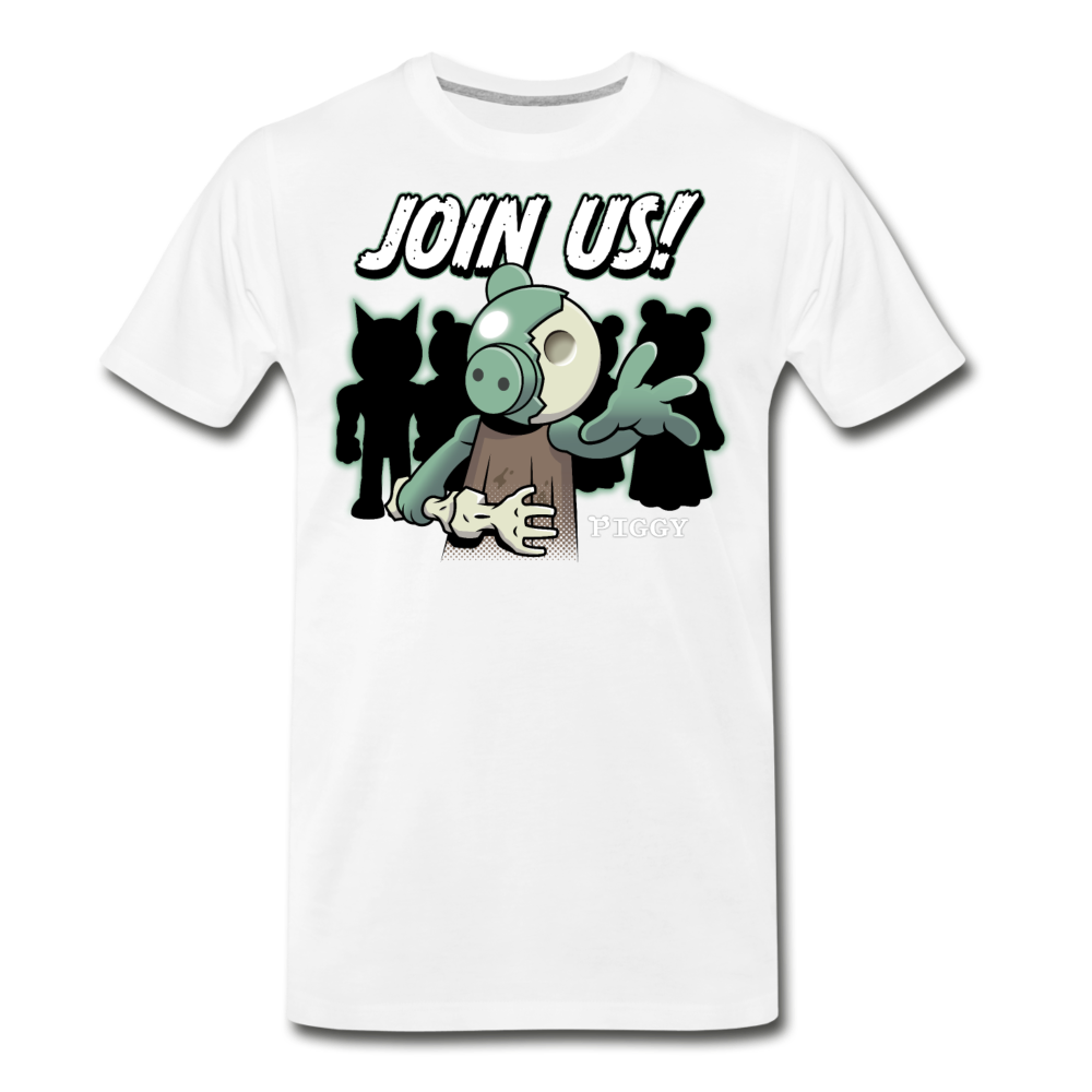 Piggy Join Us! T-Shirt (Mens) - white