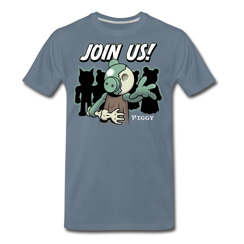 Piggy Join Us! T-Shirt (Mens) - steel blue