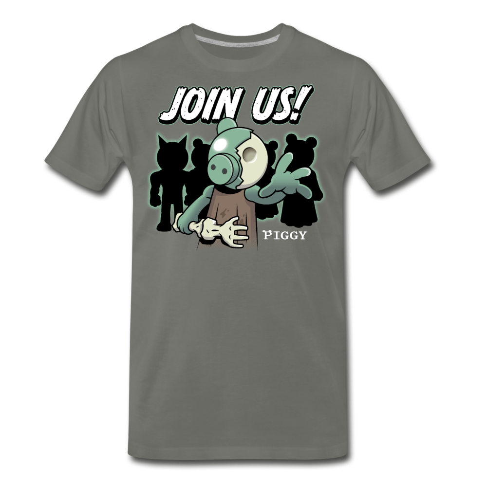 Piggy Join Us! T-Shirt (Mens) - asphalt gray