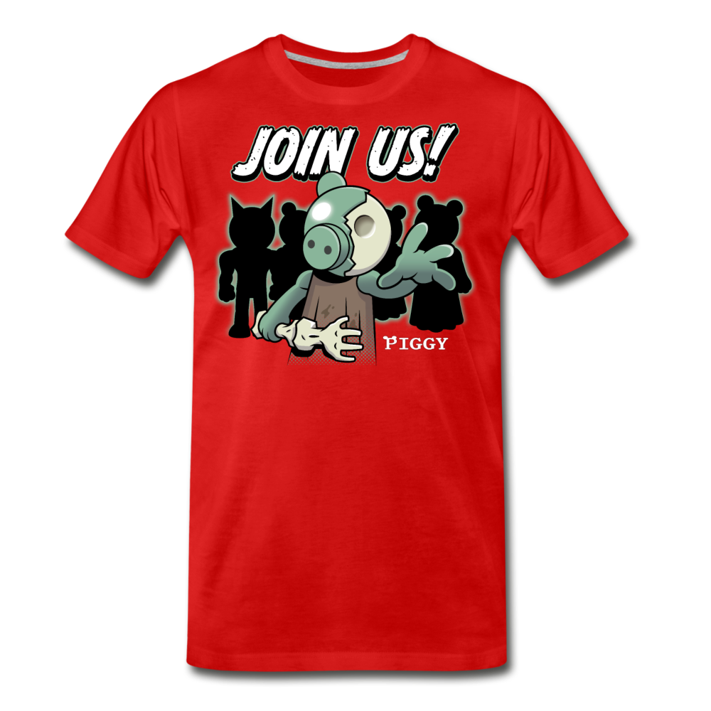 Piggy Join Us! T-Shirt (Mens) - red