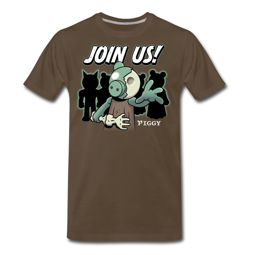 Piggy Join Us! T-Shirt (Mens) - noble brown