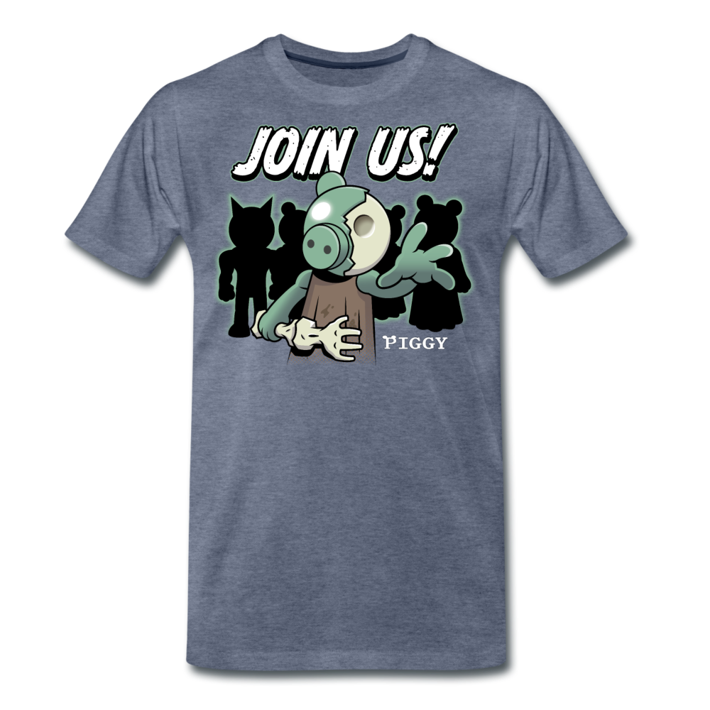 Piggy Join Us! T-Shirt (Mens) - heather blue