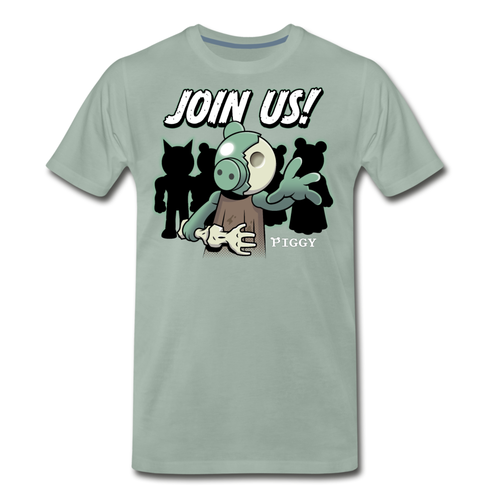 Piggy Join Us! T-Shirt (Mens) - steel green
