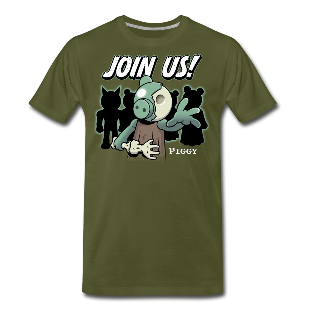 Piggy Join Us! T-Shirt (Mens) - olive green