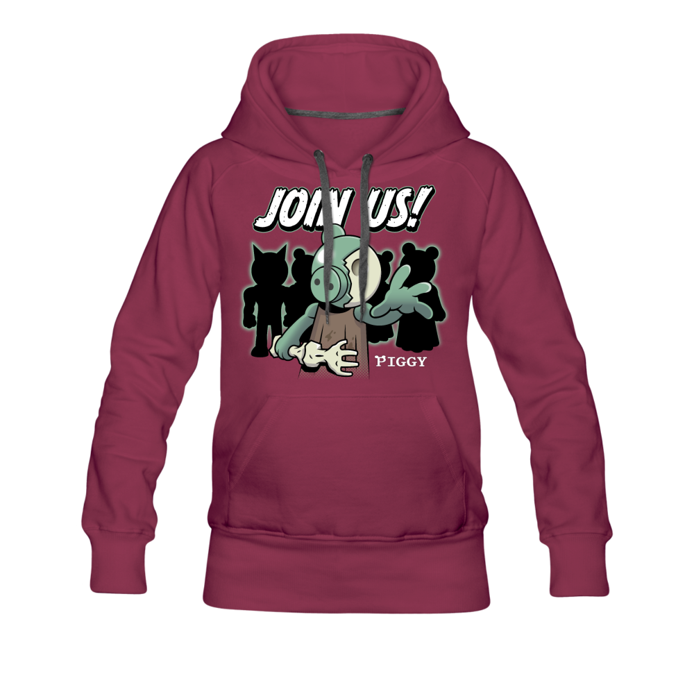 Piggy Join Us! Hoodie (Womens) - burgundy