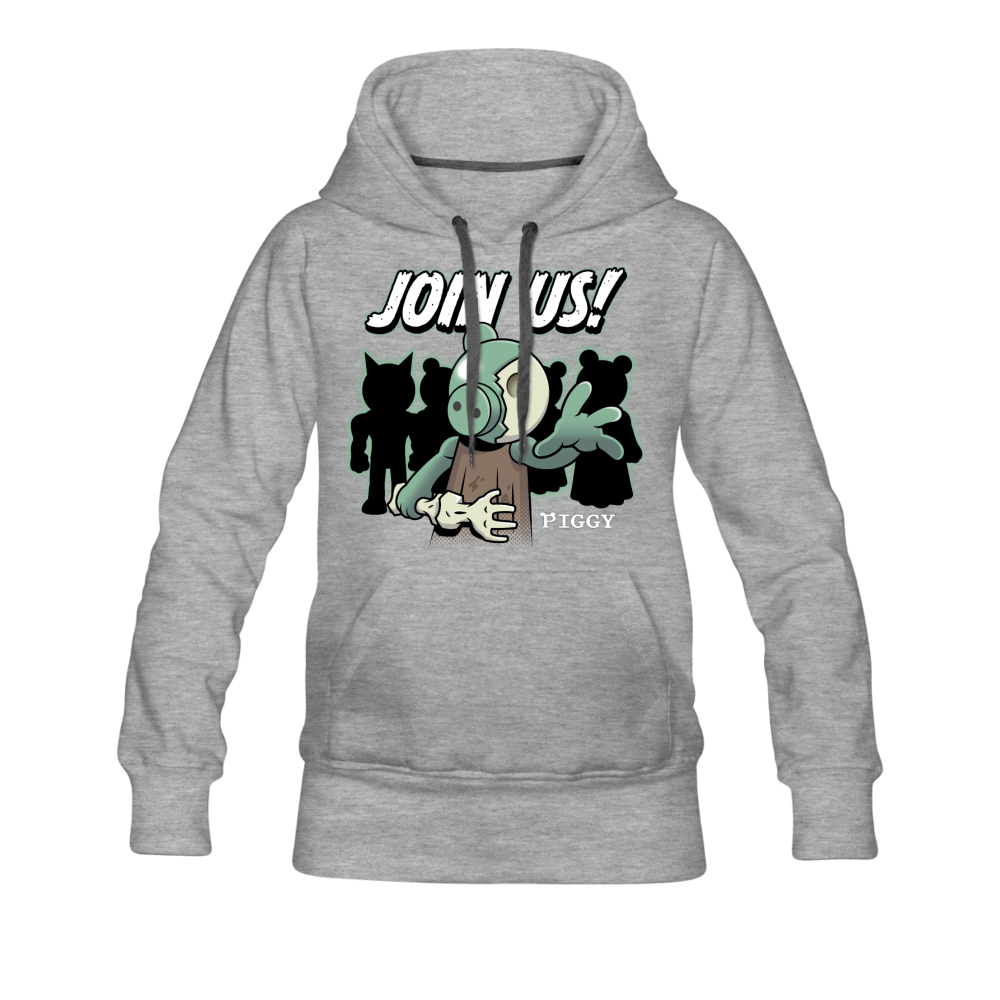 Piggy Join Us! Hoodie (Womens) - heather gray