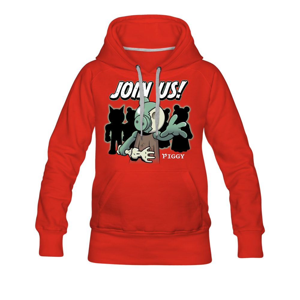 Piggy Join Us! Hoodie (Womens) - red