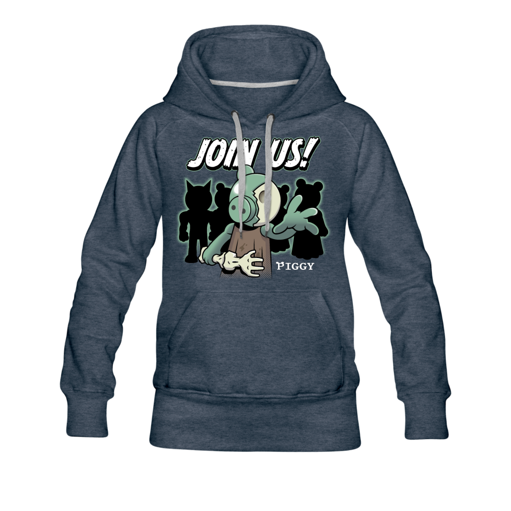 Piggy Join Us! Hoodie (Womens) - heather denim