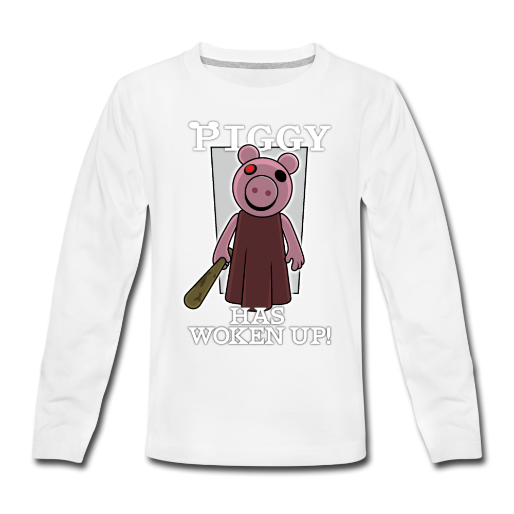 Piggy Has Woken Up Long-Sleeve T-Shirt - white