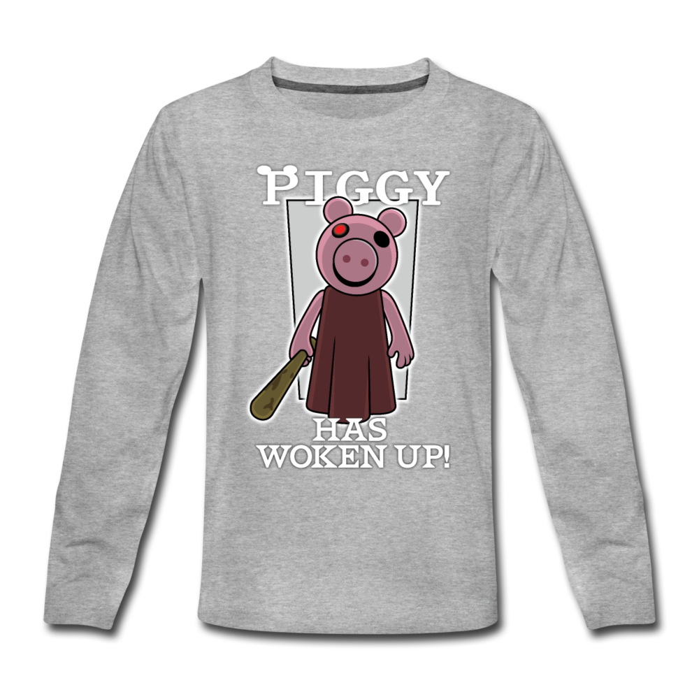 Piggy Has Woken Up Long-Sleeve T-Shirt - heather gray