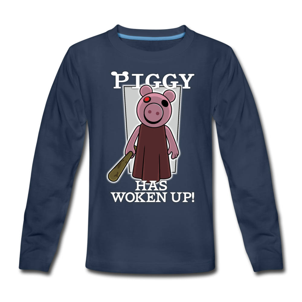 Piggy Has Woken Up Long-Sleeve T-Shirt - navy